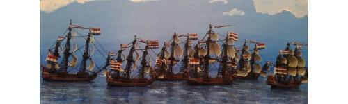 Barcos Guerras Anglo-Holandesas. Escala 1/1200
